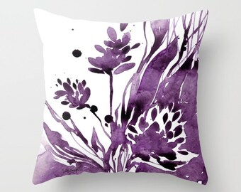 """Purple Flower Pillow, Floral Watercolor Painting, Abstract Flower Art, """"Organic Impressions No.104"""" by Kathy Morton Stanion  EBSQ"""