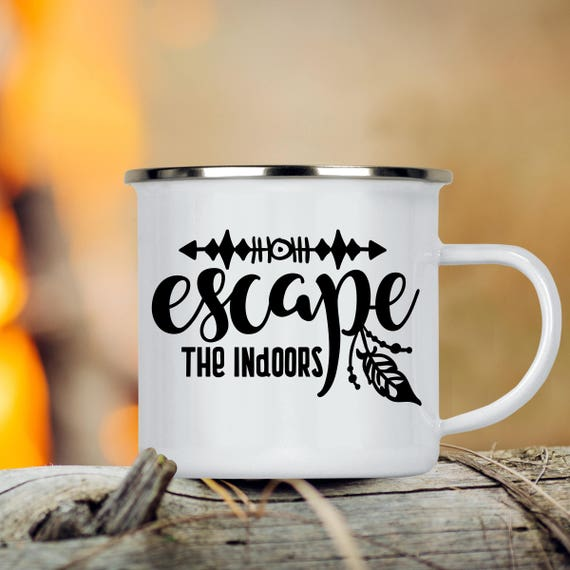 Camp Cup Escape the Indoors - Enamel Camp Mug - Dishwasher Safe