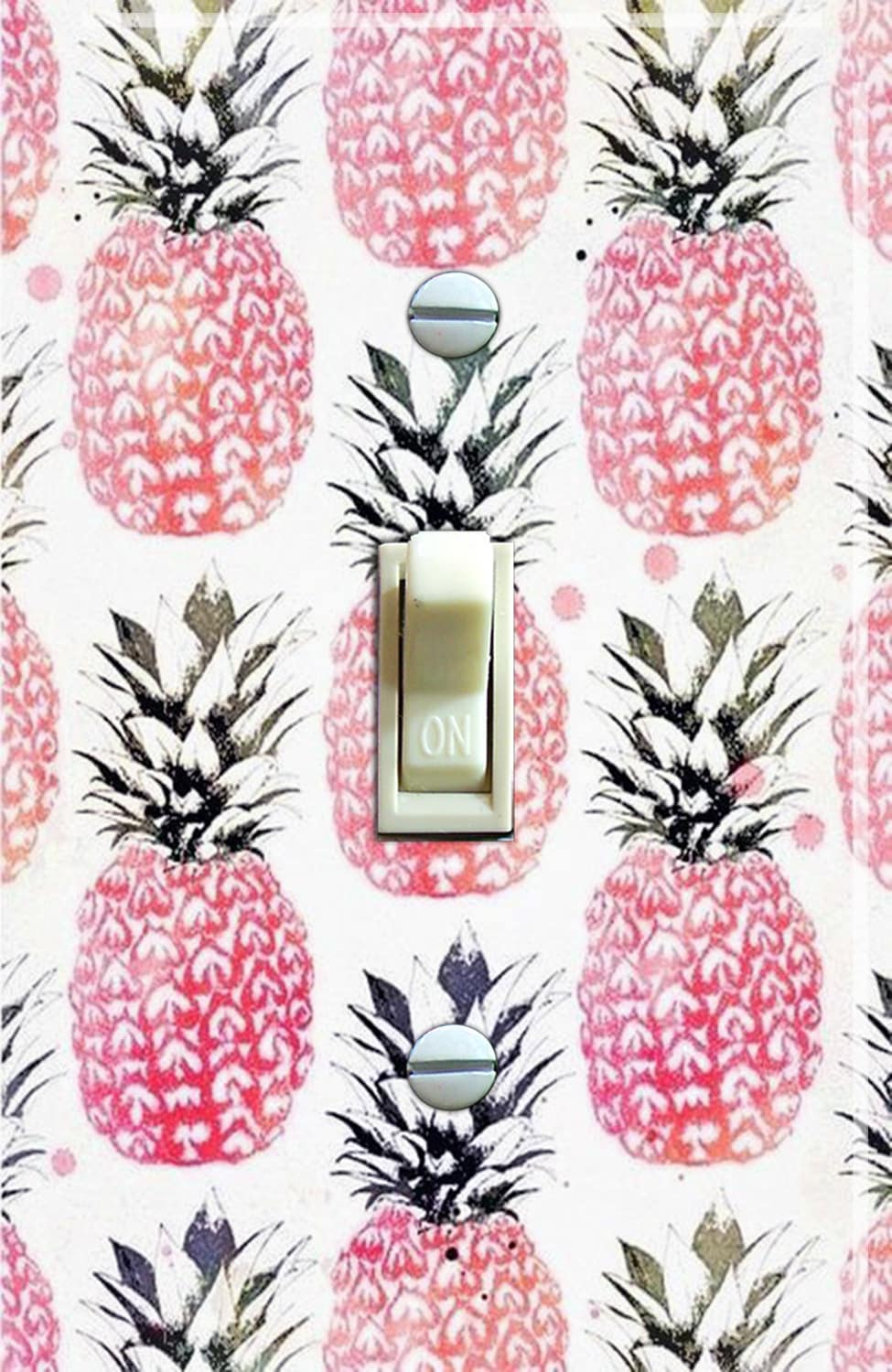Vintage Pink Pineapple Wallpaper Switch Plate