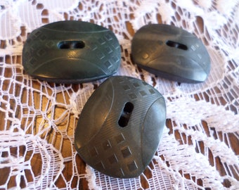 3 Vintage Dark Green Rectangle Buttons 1 inch Buttons