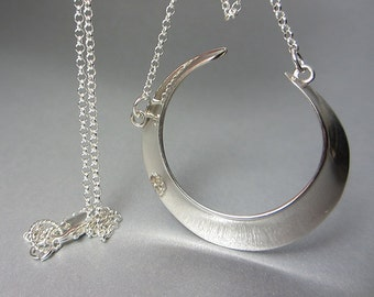 925 Sterling Silver Crescent Moon Necklace Concave Crescent Moon Pendant Large and Small Crescent Moon Layering Necklace Shiny Gift for Her