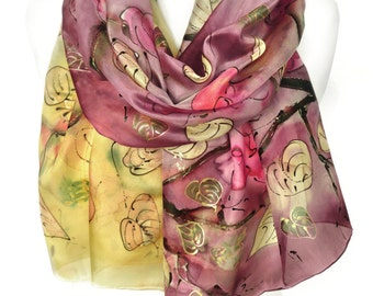 Roses Scarf. Hand Painted Woman Silk Scarf Shawl. Anniversary Gift. Genuine Art. Birthday Gift for Her. Wedding Shawl. 18x71in. MADEtoORDER