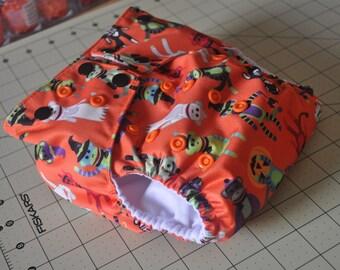 One Size Cloth Diaper in Halloween Sock Monkeys