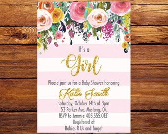 Whimsical Baby Shower Invitation, Floral Invite, Flowers Baby Shower Invite, Baby Shower invitation