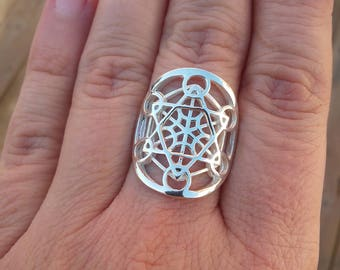 Metatron ring in sterling silver - sacred geometry - metatron's cube ring