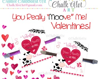 "You really ""Moove"" me Valentine, Cow Valentine Favors, Milk Valentine's Day. Valentines -  Instant Download"