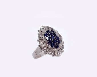 18K WHITE GOLD Ring with 0.16ct Diamonds and Sapphires