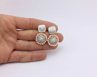 Brick Stitch Earrings with Mother of Pearl Flat Cabochons by Detail London.