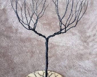 Black l Jewelry Tree Stand with base, wire tree sculpture.  perfect for necklaces , earrings ,  rings , etc.  display  , organizer. 15