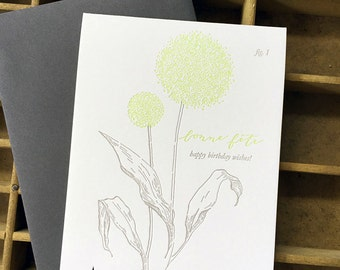 letterpress birthday allium card