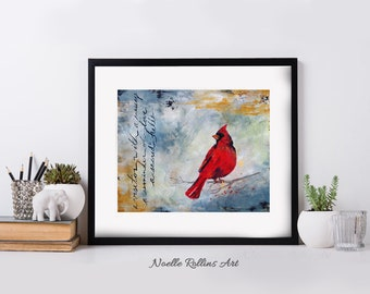 Cardinal prints choice of matted wall art featuring red cardinal messenger from spirit birds meaning of seeing cardinals symbolism