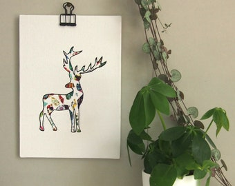 deer, sniffing canvas