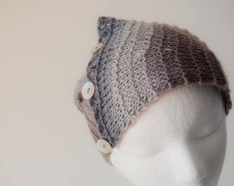 Headwrap/Neckwarmer in Dove Grey Gradient Colors. Hand Knit in Soft Wool & Nylon Blend (70/30) Fall Fashion, Mori Girl, Winter Fashion, Boho