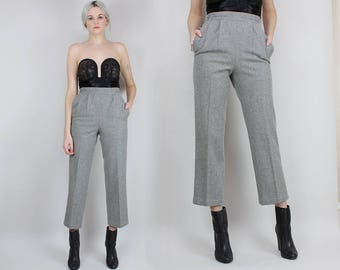 1950s Wool Slacks, Size 25 Waist, High Waisted Grey Pants, Button Up Sides, Pleated, Size Small, Extra Small, Minimalist, Cropped Leg