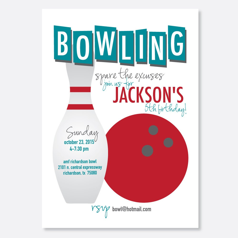 Kids adult bowling party invite printable etsy zoom stopboris Image collections