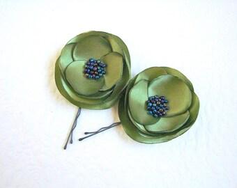 Silk flower green Hair pin flower accessory Olive green Bridesmaids flower Green hair clip Flower hair slides olive green wedding hair pins