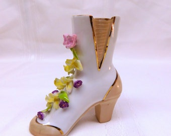 Vintage Victorian Ceramic Lace Up Floral Boot Shoe Flower Vase Made in Japan