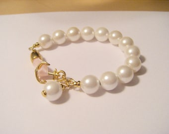 Bracelet Shell Core Beads gold anchor with pink strap