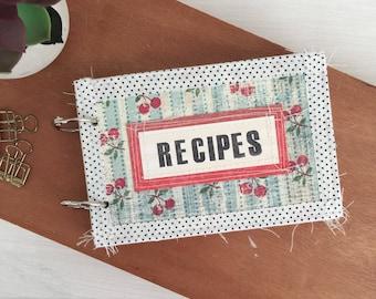 Recipe Binder Junk Journal.  Housewarming Gift.  Index Card Holder.
