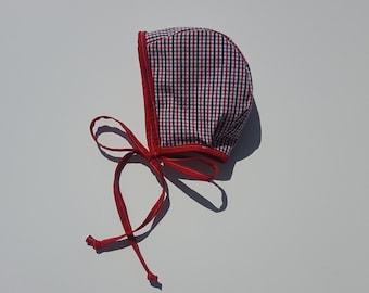 Red, White, & Blue Gingham Bonnet