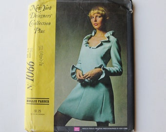 Vintage 70s Mollie Parnis 1066 New York Designers Collection Mini Dress Sewing Pattern 36 Bust
