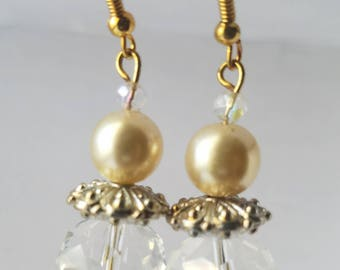 Crystal Earrings Gifts for Her Statement Earrings Bridal Earrings Gifts for Bridesmaid Pearl Earrings Dangle Earrings Gold Earrings SALE