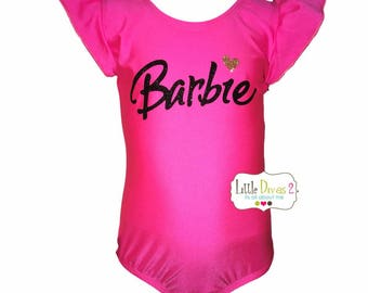 Barbie - Flutter Sleeve Leotard Only-Children's