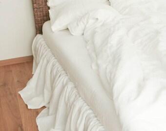 Linen Bed Skirt/Natural White Linen/ Dust Ruffle/ Natural / Handmade Bed Skirt/Gathered Skirt/ Queen Bed Skirt