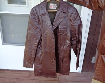 Mans 1960s vintage brown 3 button vintage leather jacket,coat by Sears size 46T.,nice patina