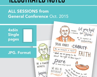 1 Per page 4x6in General Conference Illustrated Notes - Oct 2015