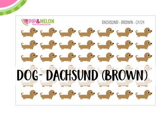 Dog Stickers Dachsund Brown | 1/2 inch Stickers | 42 Kiss-Cut Stickers |  | CA124