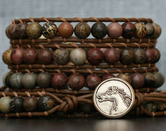 wild horse jasper on chocolate brown leather - beaded leather wrap bracelet - grey gray gold dark brown - mens or womens