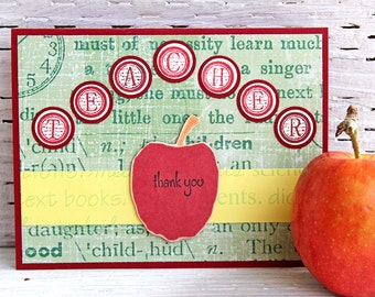 Teacher Thank You Card in Red and Green - Handmade Notecard for End of School Year - Teacher Appreciation Day - Apple for the Teacher