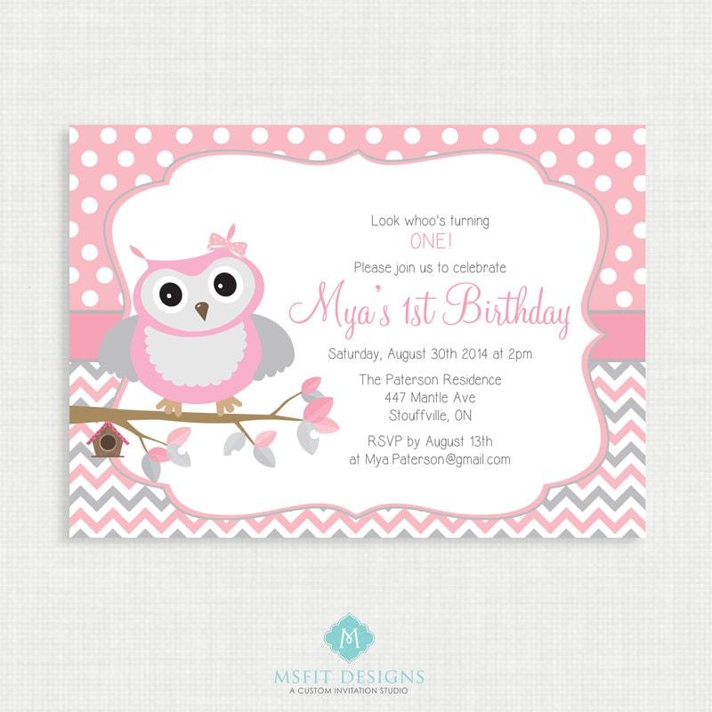 Printable Birthday Invitation- Owl Birthday Invitation, Girl ...