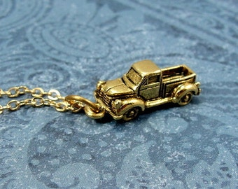 Pickup Truck Necklace, Gold PIckup Truck Charm on a Gold Cable Chain