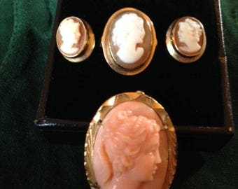 vintage cameo ring, earrings and pendant/pin