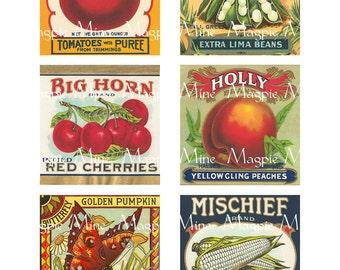 Instant Download - Large Vegetable Labels - Six Vintage Labels - 3 x 3 Inches - Digital Download - Printable
