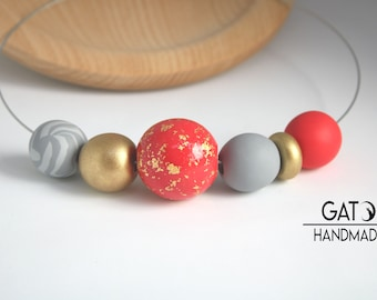 Double Wear Necklace -Wear it 2 Ways! SUN Collection/Polymer clay necklace/Red, golden, grey
