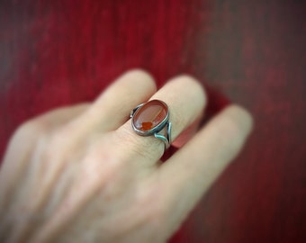 Carnelian Stone Silver Ring, Size 7, Boho Fashion, Mood Ring, Orange Gemstone, Ethnic Jewelry, Color Therapy, Happiness Vitality, Gypsy Ring