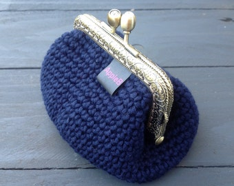 Coin purse, crochet purse, pouch, ladies purse, Navy blue purse, crochet accessories, small purse, unusual gifts, gift for her, crochet gift
