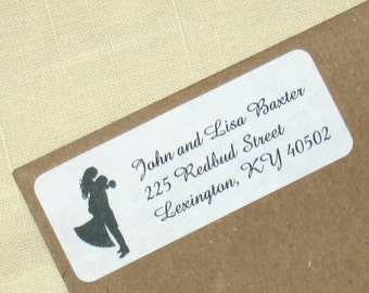 Bridal Return Address Labels - Wedding Silhouettes -90 self-adhesive labels - Custom Wedding Address Labels - Choose Couple