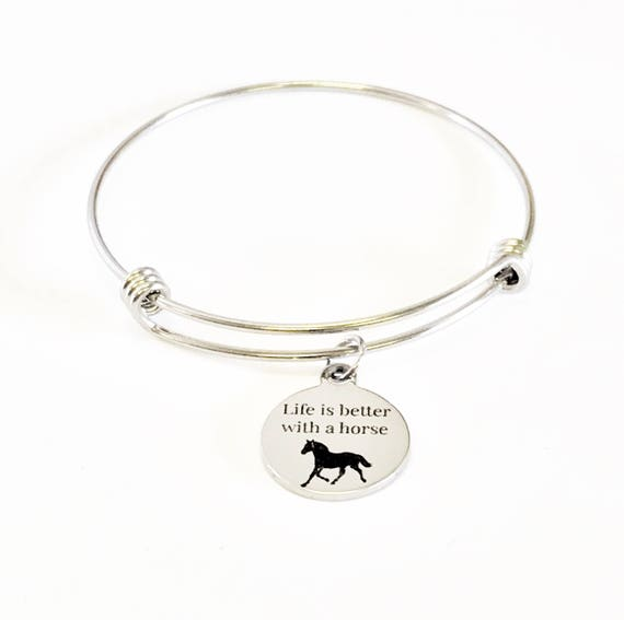 Life Is Better With A Horse Stacking Expanding Bangle Charm Bracelet, Horse Lover Bracelet Gift, Horse Lover Jewelry, Valentine Gift for Her