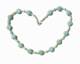 Amazonite Stone and Freshwater Pearl Necklace Beaded Teal Flower
