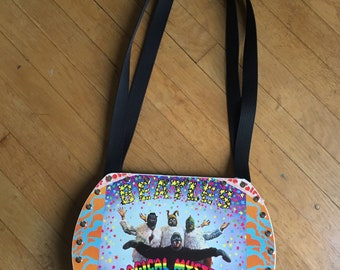 Bea - Magical Mystery Tour Vinyl Record Purse with purple sparkle material
