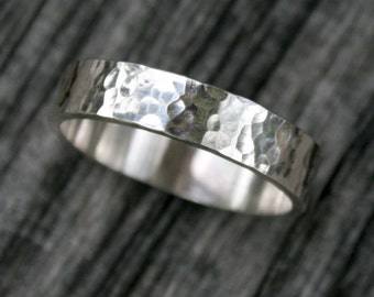 Sterling Silver Ring - Simple 5mm Hammered Band