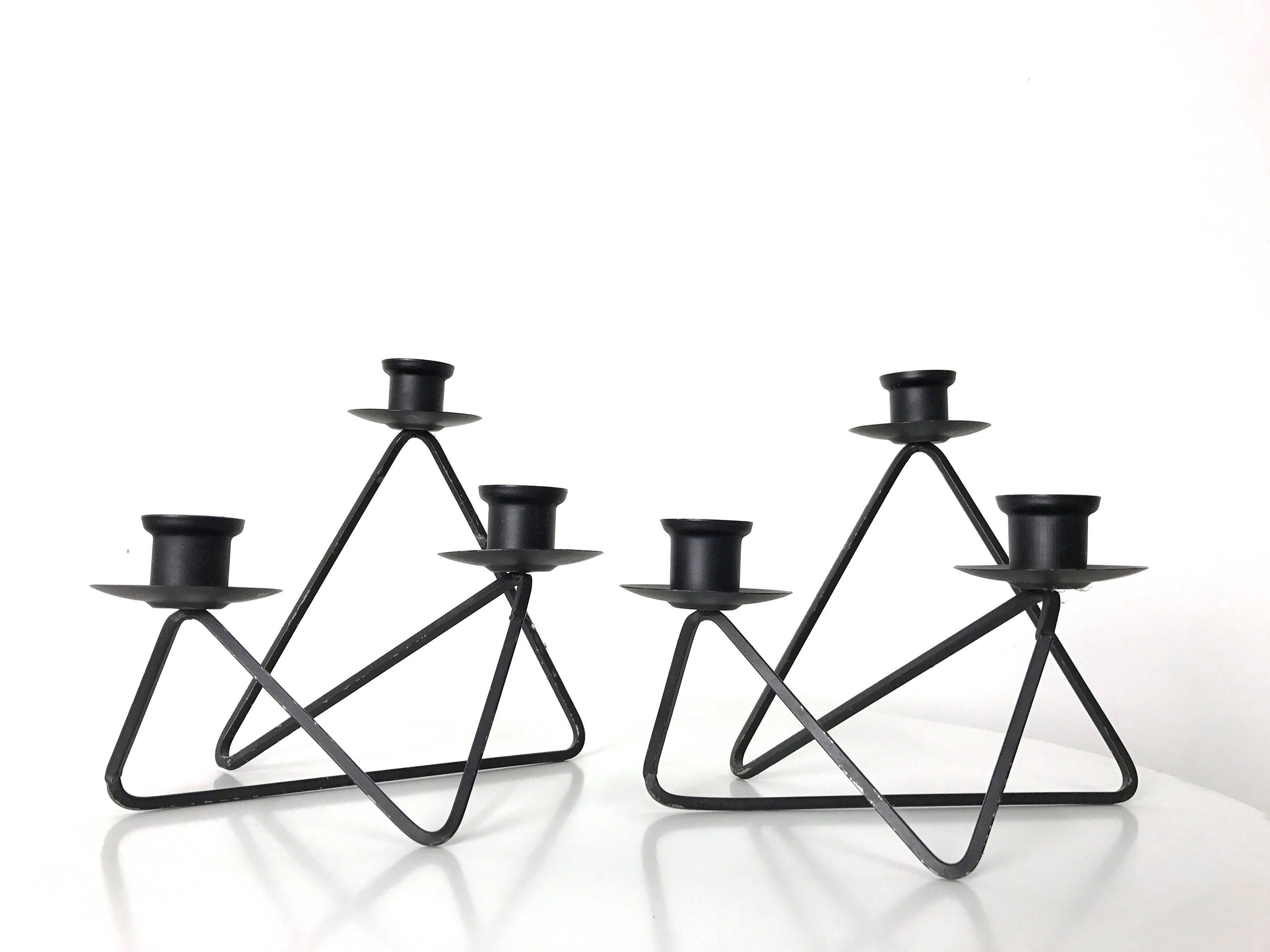 Pair Modernist Black Wire Candleholders 1950\'s