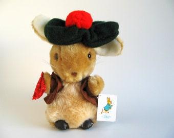 Vintage Benjamin Bunny Stuffed Animal Toy by Eden Toys Orginal Paper Tag Beatrix Potter Peter Rabbit 1980s Green Tam O'shanter Red Pompom