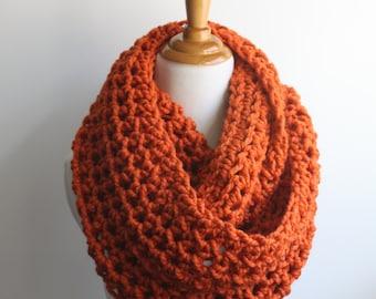 Infinity Scarf, Circle Scarf, Crochet Scarf, Chunky Scarf, Pumpkin Scarf, Snood, Chunky Knit Scarf, Orange Infinity Scarf