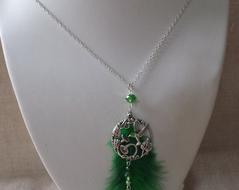"""bird and green feather"" necklace"