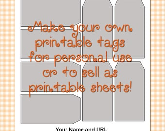 "Printable Manila Tags Size 3 Template 0016 - 1.88""x 3.75"" - DIY Digital Template in Photoshop Format - Commercial Use OK - Instant Download"